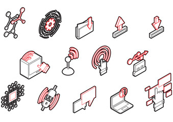 illustration of info graphic connection icons set concept in isometric 3d graphic