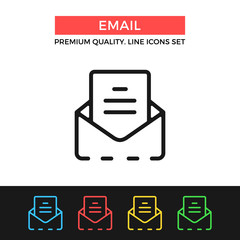 Vector email icon. Thin line icon