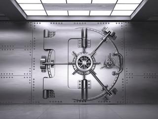 Front view of Closed Bank Vault Door. 3d render