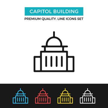 Vector Capitol building icon. Thin line icon