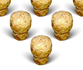 champagne cork triangle formation white background