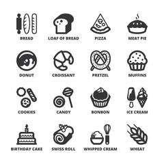 Bakery flat symbols. Black