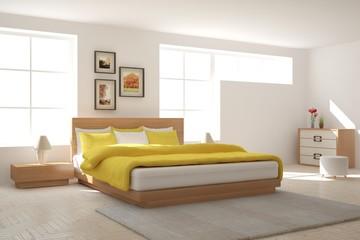 White bedroom. Scandinavian interior design