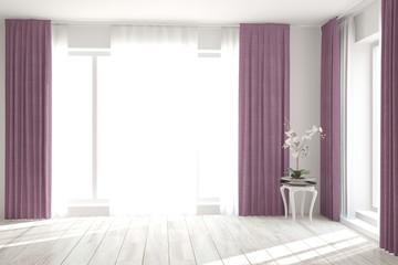 Whiteempty room. Scandinavian interior design