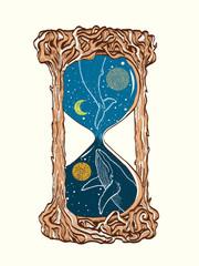 Hourglass tattoo. Whales swim in the hourglass tattoo art