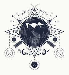 Mountain wind rose compass tattoo art. Travel, adventure