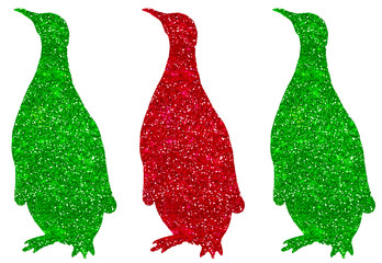 Penguin Green Red Glitter Christmas Holiday Silhouette