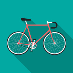 Bicycle icon with long shadow. Flat design style. Fixed-gear bicycle silhouette. Simple icon. Modern flat icon in stylish colors. Web site page and mobile app design element.