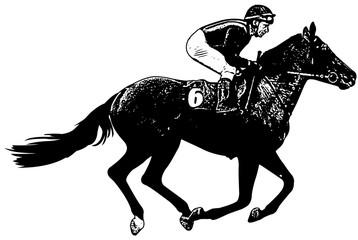 jockey riding galloping race horse sketch illustration