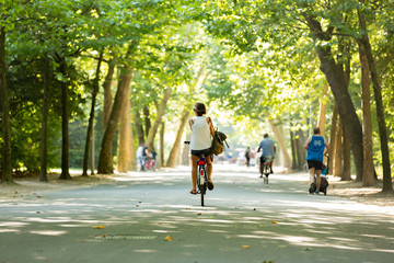 Women bikes through a sunny Vondelpark.