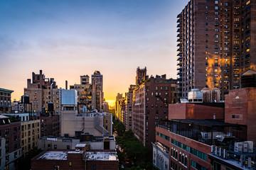 Evening view of Manhattan cityscape.