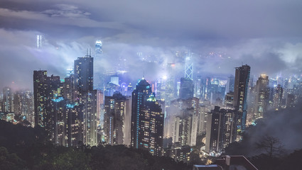 Hong Kong at night. Night view from famous view point Victoria Peak,