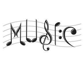 image of word music as notes