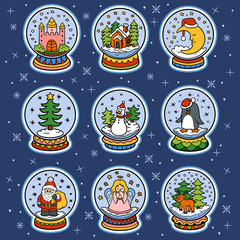 Vector color set of snowballs, Christmas stickers