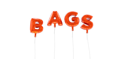 BAGS - word made from red foil balloons - 3D rendered.  Can be used for an online banner ad or a print postcard.