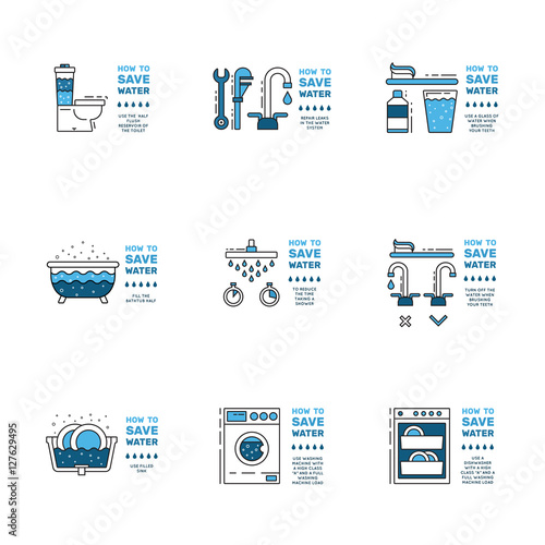 Illustration with tips on saving water consumption by man in a house - Quot Illustration With Tips On Saving Water Consumption By Man