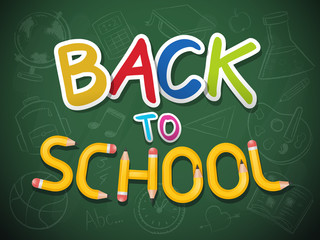 Blackboard with back to school text and chalk drawn icons vectors illustration