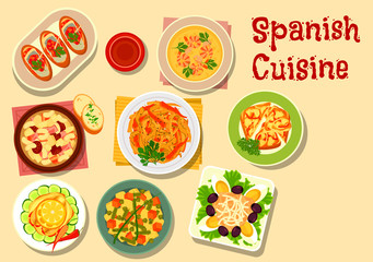 Spanish cuisine lunch icon for food design