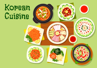 Korean cuisine dishes icon for asian menu design