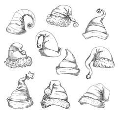 Santa hats pencil sketch icons