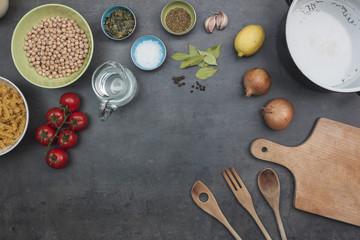 Top view on vegetarian food ingredients and accessories.