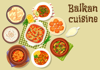 Balkan cuisine traditional meat dishes icon