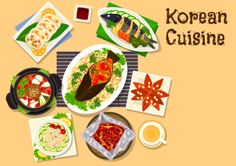 Korean cuisine seafood dinner dishes icon