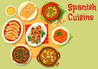 Spanish cuisine rich meat dishes icon
