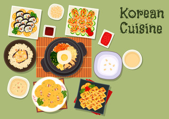 Korean cuisine traditional rice dishes icon