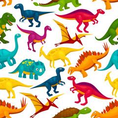 Dinosaur, jurassic animal monster seamless pattern