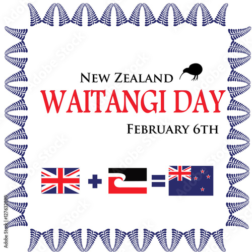 """""""greeting Card To Celebrate Waitangi Day In New Zealand"""" Stock Image And Royalty-free Vector"""