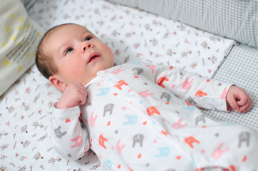 Newborn cute baby on the couch at home/Baby in infant bed