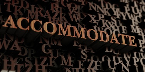 Accommodate - Wooden 3D rendered letters/message.  Can be used for an online banner ad or a print postcard.