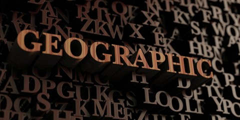 Geographic - Wooden 3D rendered letters/message.  Can be used for an online banner ad or a print postcard.
