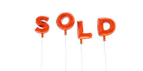 SOLD - word made from red foil balloons - 3D rendered.  Can be used for an online banner ad or a print postcard.