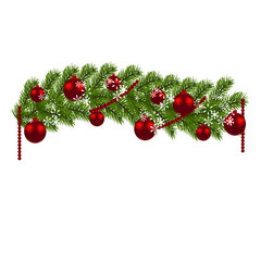 Christmas decoration. Green branches of a Christmas tree with red balls and snowflakes on a white background. New Year decoration. illustration
