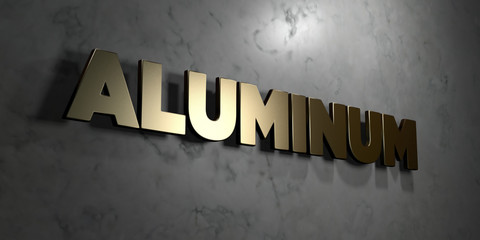 Aluminum - Gold sign mounted on glossy marble wall  - 3D rendered royalty free stock illustration. This image can be used for an online website banner ad or a print postcard.