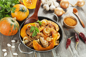 Pumpkin baked with meat