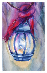 Postcard happy new year. A lamp with a scarf. Background watercolor illustration.