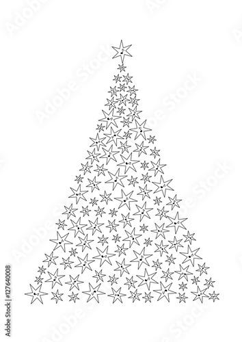 Choinka Z Gwiazdek Z Nutami Boże Narodzenie Motyw Muzyczny Zdjęć