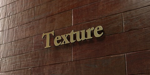 Texture - Bronze plaque mounted on maple wood wall  - 3D rendered royalty free stock picture. This image can be used for an online website banner ad or a print postcard.