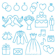 Wedding hand drawn outline icons 2