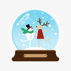 Vector illustration of a snowglobe with snowman and deer