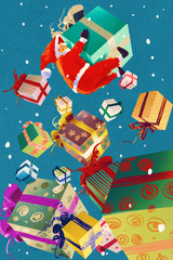Santa Claus and christmas gift boxes falling on blue background,illustration painting