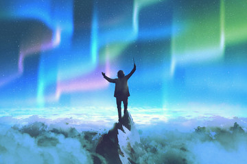 the conductor holding baton standing on top of a mountain against night sky with Northern Lights,illustration painting