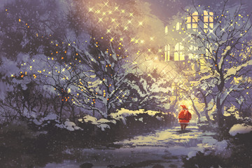 Santa Claus in snowy winter alley in the park with christmas lights on trees,illustration painting