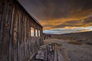 Sunset Reflection in Old Window, Ghost Town of Bodie