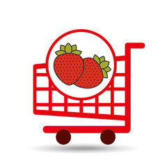 cart shopping fruit strawberry icon graphic vector illustration eps 10