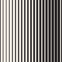 Vector Seamless Black and White Halftone Vertical Stripes Pattern