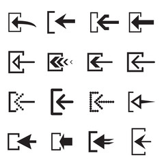 Log in (sign in) arrow icons for web interface. Vector illustration